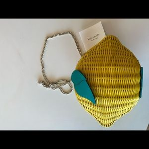 Kate spade brand new with tags wicker purse lemon